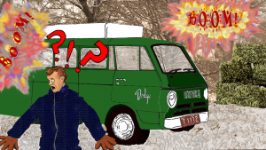 Reino Maki appears in front of a green Dodge van. Explosions are heard in the background.