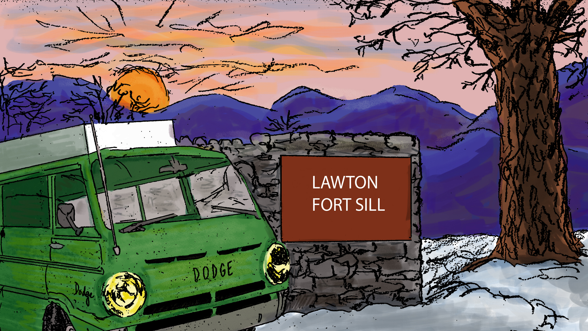 "Sunset in snowed-in country. The Word Wagon drives along a road. An open gate in a fence has a paved, plowed road leading into it. Sign at gate reads ""Fort Sill."" Local terrain is wooded and hilly."