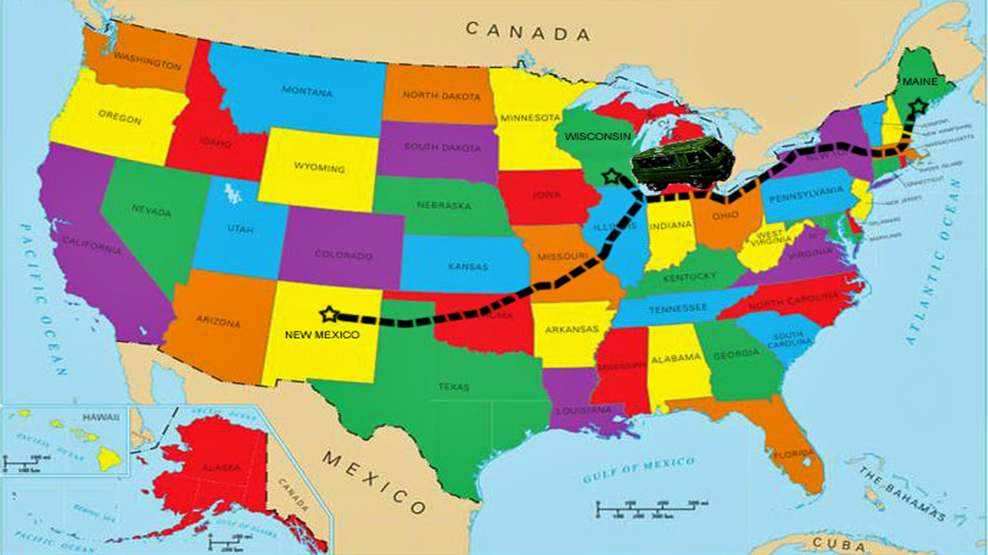 Map of USA, tracing RM's route from New Mexico to Madison, WI, to the SE tip of Maine.