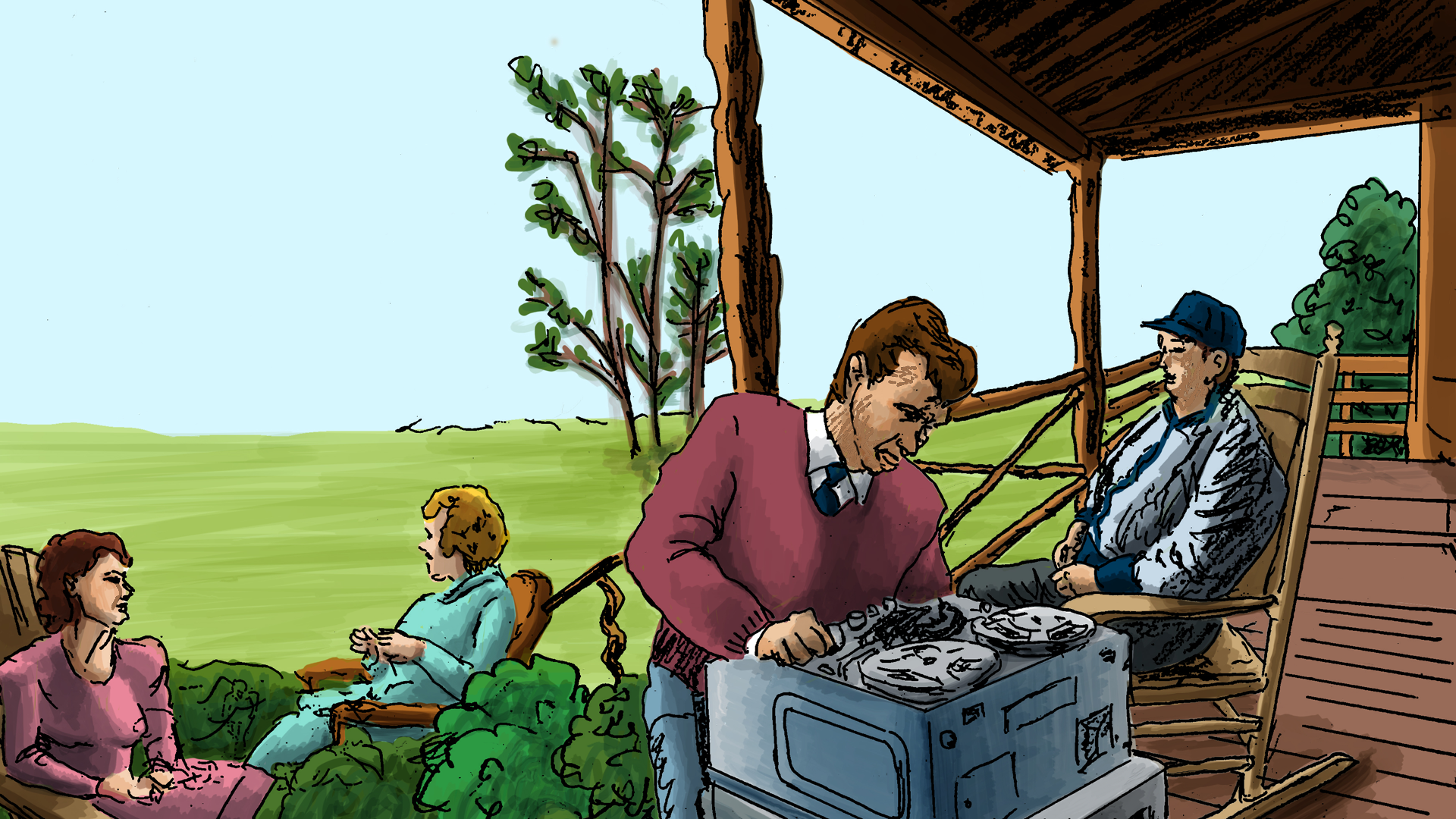 ILL: RM and MINER sit on a house porch as RM uses a tape recorder for interview. In the yard, SHIRLEY and MINER'S WIFE sit chatting as Carina and Miner's grandchildren run around playing.