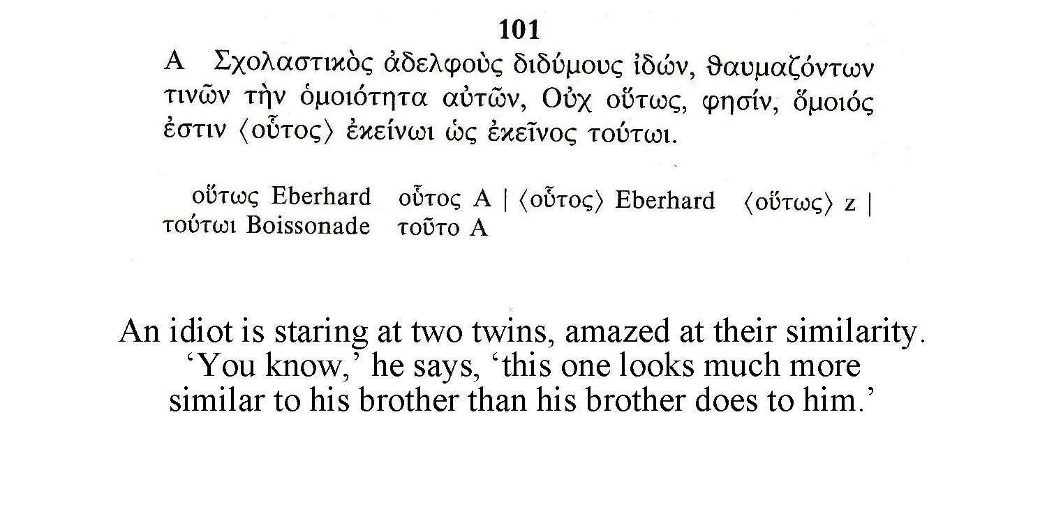The Philogelos: Joke #101 – Twins – The National Museum of Language